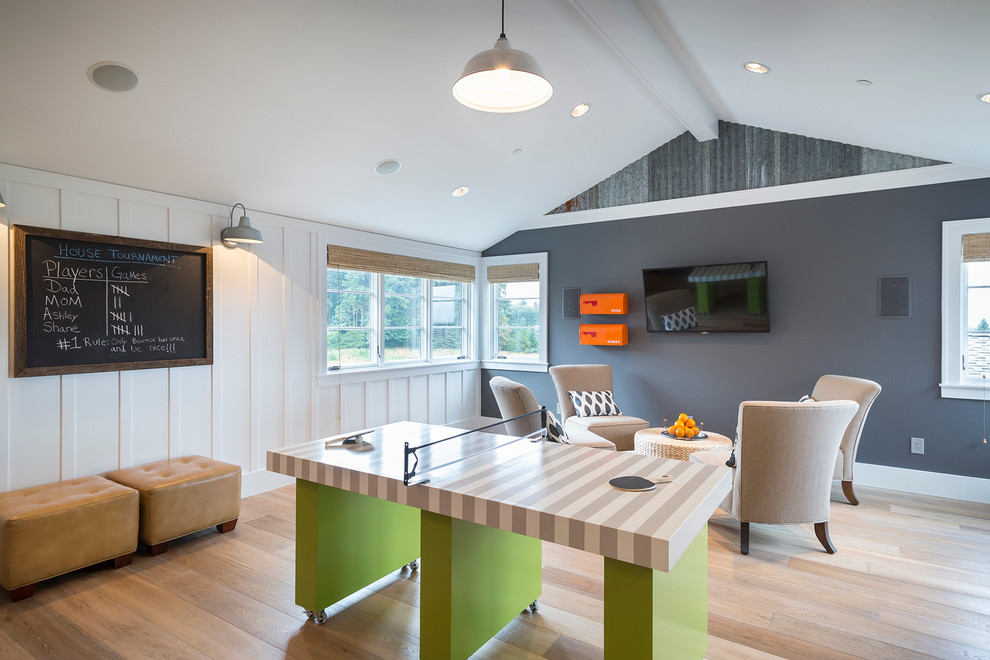 Cool Mailboxes Family Room Contemporary with Board and Batten Chalkboard Game Room Hardwood