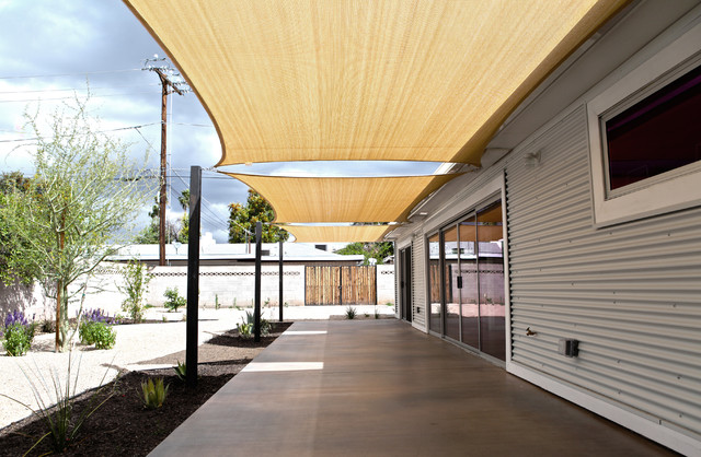 Coolaroo Shade Sails Patio Industrial with Addition Awning Backyard Concrete Concrete Block Wall Corrugated Metal