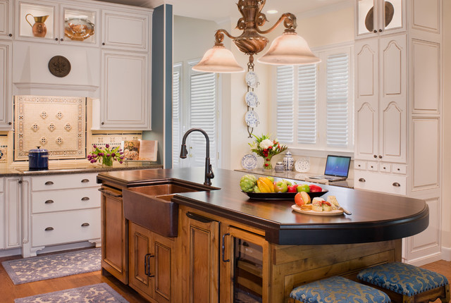 Copper Farm Sink Kitchen Traditional with Bar Stools Blue Built Ins Covered Range Hood Curved