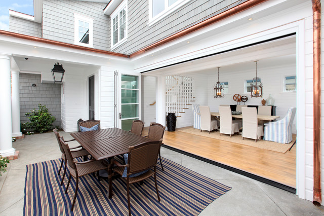 Copper Gutter Patio Traditional with Beige Slipcovered Chair Blue and Beige Striped Rug Blue