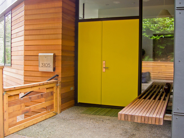 Copper Mailbox Entry Contemporary with Chartreuse Door Floating Bench Front Door Modern Mailbox Neon