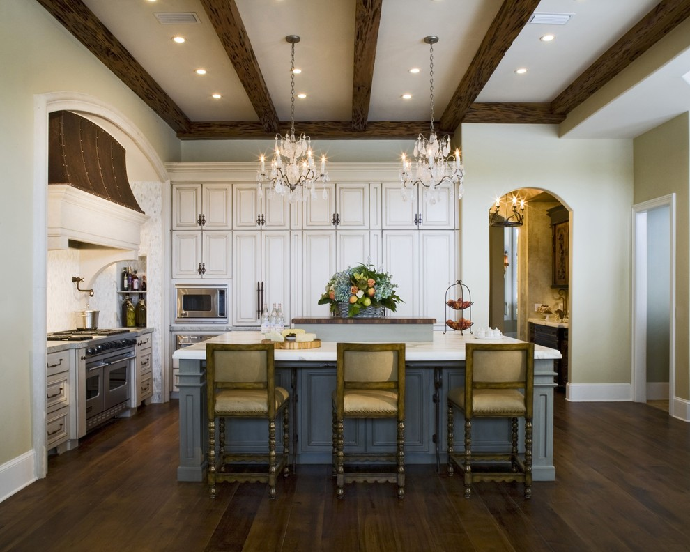 copper range hood Kitchen Traditional with arch doorway archway beige cabinets beige ceiling