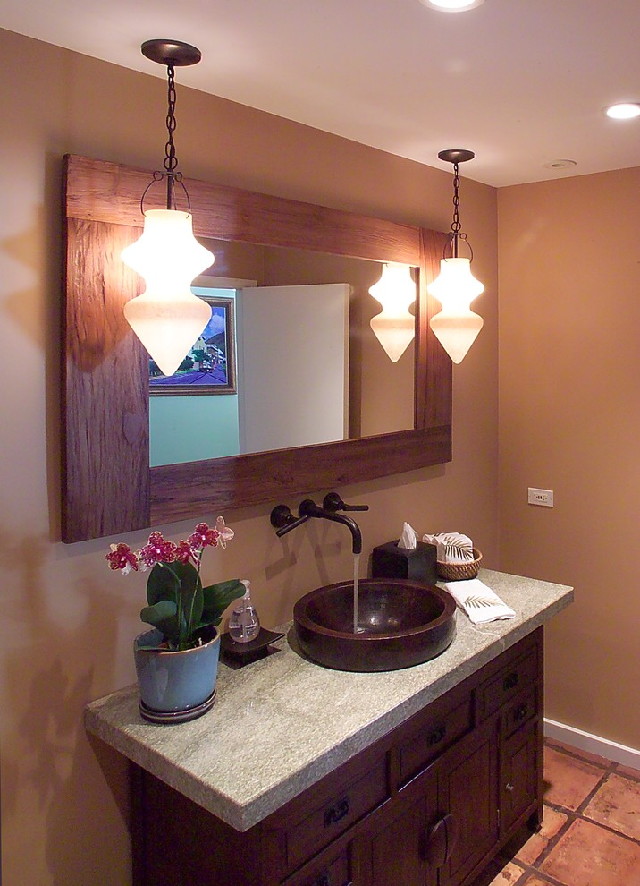 Copper vessel sinks bathroom transitional with beige for Copper bathroom ideas