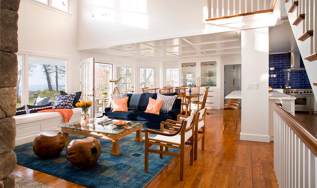 Coral Area Rug Living Room Beach With Blue And White Sofa Bright