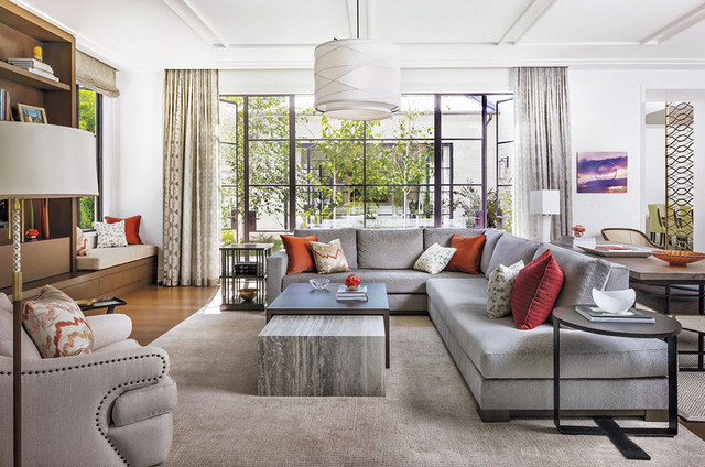 Coral Area Rug Living Room Contemporary With Beamed Ceiling Family Room  Gray Gray Area Rug Indoor Part 79