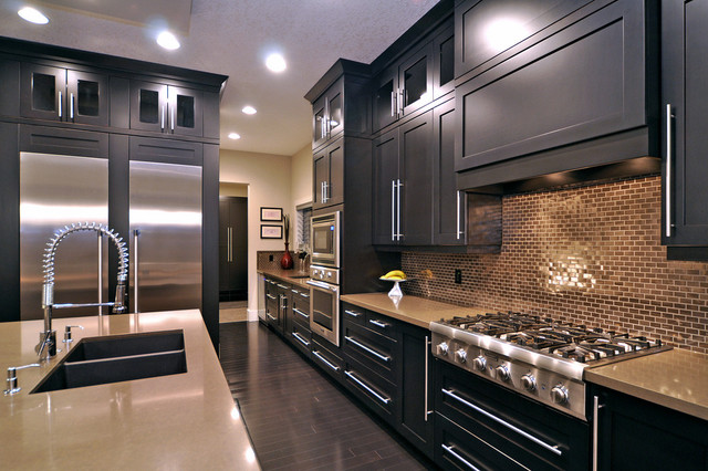 Cordless Snow Blower Kitchen Contemporary with Frame and Panel Woodwork Gray Counters Gray Wood Floor