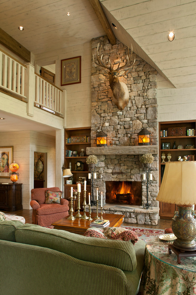 Corduroy Couch Family Room Traditional with Animal Head Beige Railing Beige Wall Built In