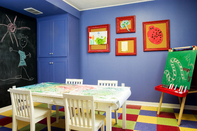 Cork Board Tiles Kids Traditional with Art Room Art Table Blue Wall Built in Cabinet