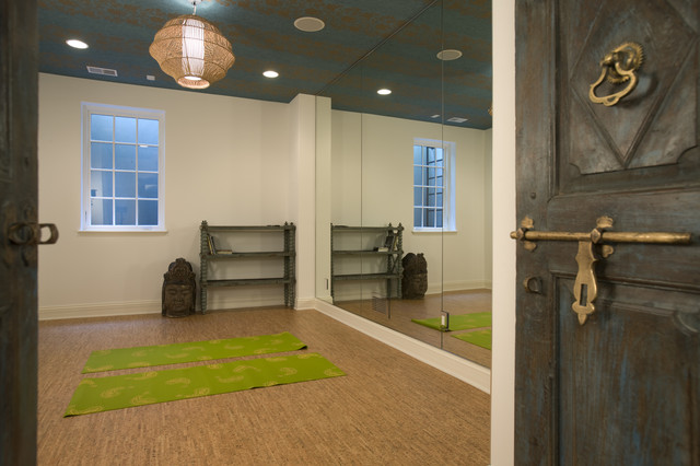cork flooring lowes Home Gym Mediterranean with brass carved doors exercise room mats mirror wall open