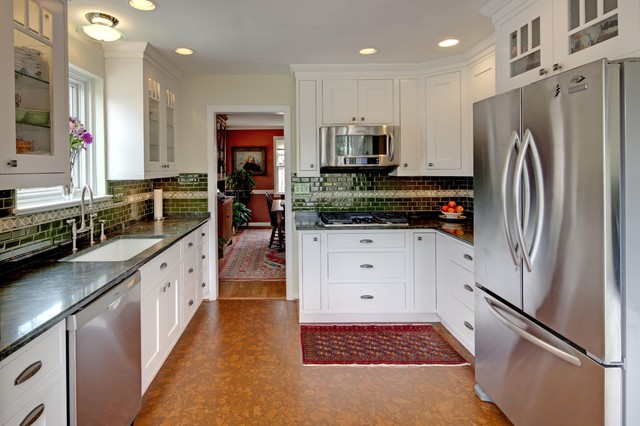 Cork Flooring Lowes Kitchen Traditional with Bridge Faucet Ceiling Lighting Cork Flooring Glass Front Cabinets