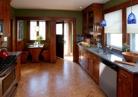 Cork Flooring Pros and Cons Kitchen Eclectic with Banquette Blue Built in Cab Cabinets Cork Floor1