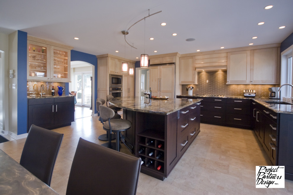 Cork Flooring Pros and Cons Kitchen Eclectic with Blue Dark Island Kitchen Light Maple Pendants1