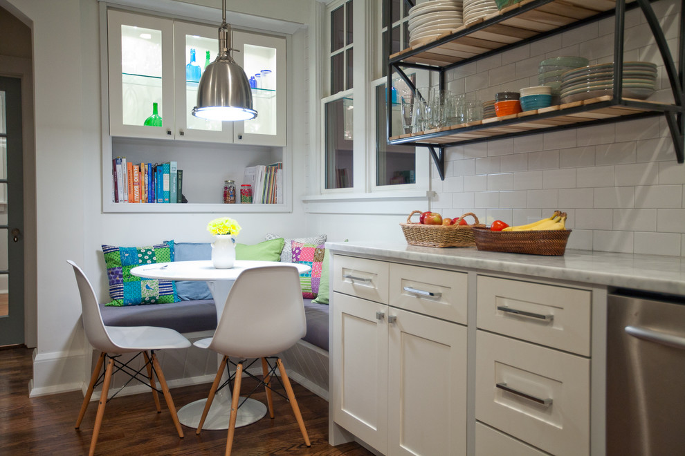 Corner Banquette Kitchen Contemporary with Banquette Bookshelves Breakfast Nook Built in Seating