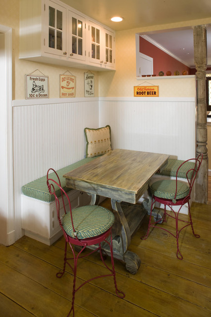 corner bench kitchen table kitchen eclectic with banquette beadboard breakfast nook butter yellow cafe chair glass