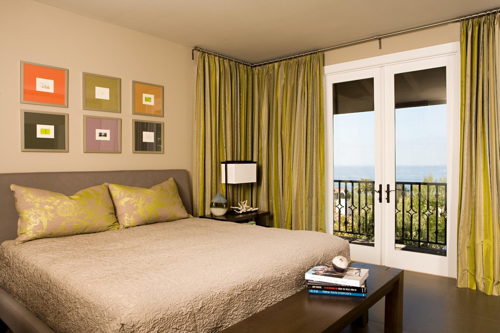 Corner Curtain Rod Bedroom Contemporary with Balcony Bedside Table Curtains Dark Floor Drapes