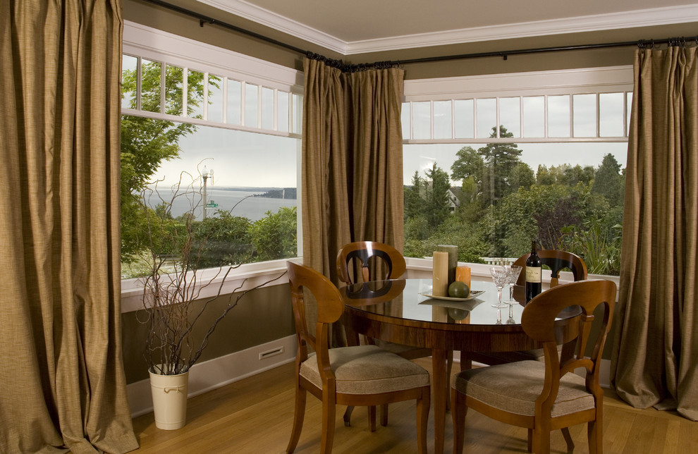 corner curtain rod Dining Room Traditional with baseboards curtains drapes earth tone colors olive