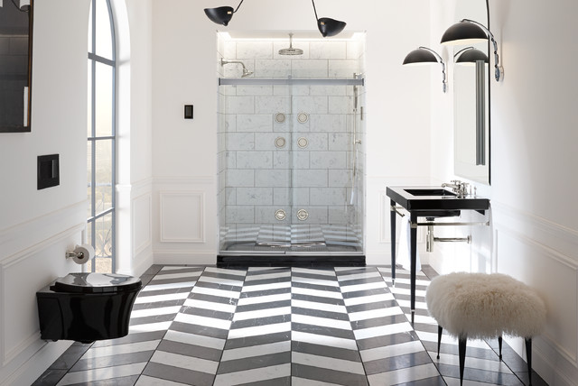 Corner Shower Curtain Rod Bathroom Traditional With Black And White Classic Herringbone Tile Hollywood