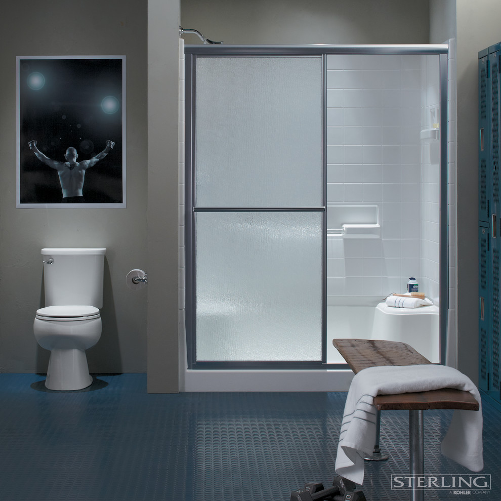 corner-shower-stalls-Bathroom-Contemporary-with-blue-walls-ceiling ...