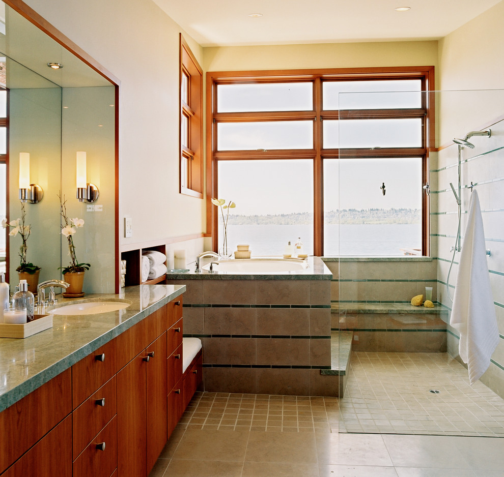 Corner Tub Shower Combo Bathroom Contemporary with Clear Glass Shower Curbless Shower Gray Stone