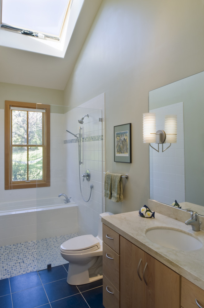 Corner Tub Shower Combo Bathroom Contemporary with Mosaic Tiles Neutral Colors Sconce Shower Room