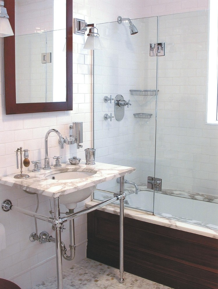 corner tub shower combo Bathroom Traditional with Bath Accessories chrome framed mirrors glass tiles