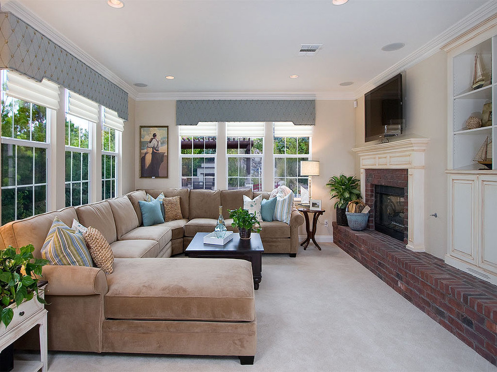 Comfortable Couches For Family Rooms Part - 30: Cornice-boards-Family-Room -Traditional-with-brick-fireplace-surround-built-in-shelves-ceiling