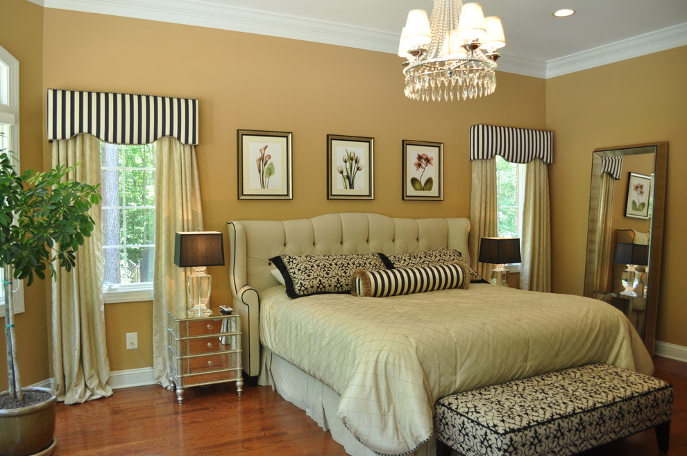 Cornice Valance Bedroom Traditional with Bedspreads Bench Bolster Botanical Print Chandelier Cornice