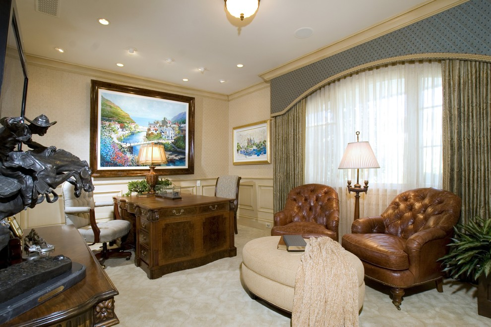 Cornice Valance Home Office Traditional with Bronze Sculpture Carpeting Ceiling Lamp Curtain Panel