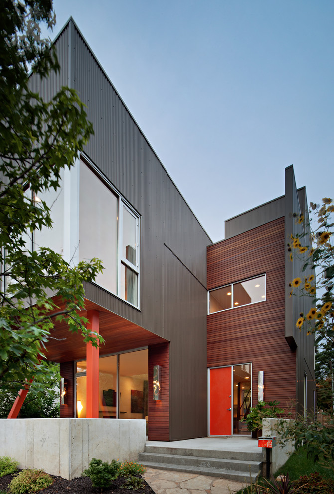 Corrugated Metal Siding Exterior Modern with Cantilever Concrete Wall Corner Windows Corrugated Metal1