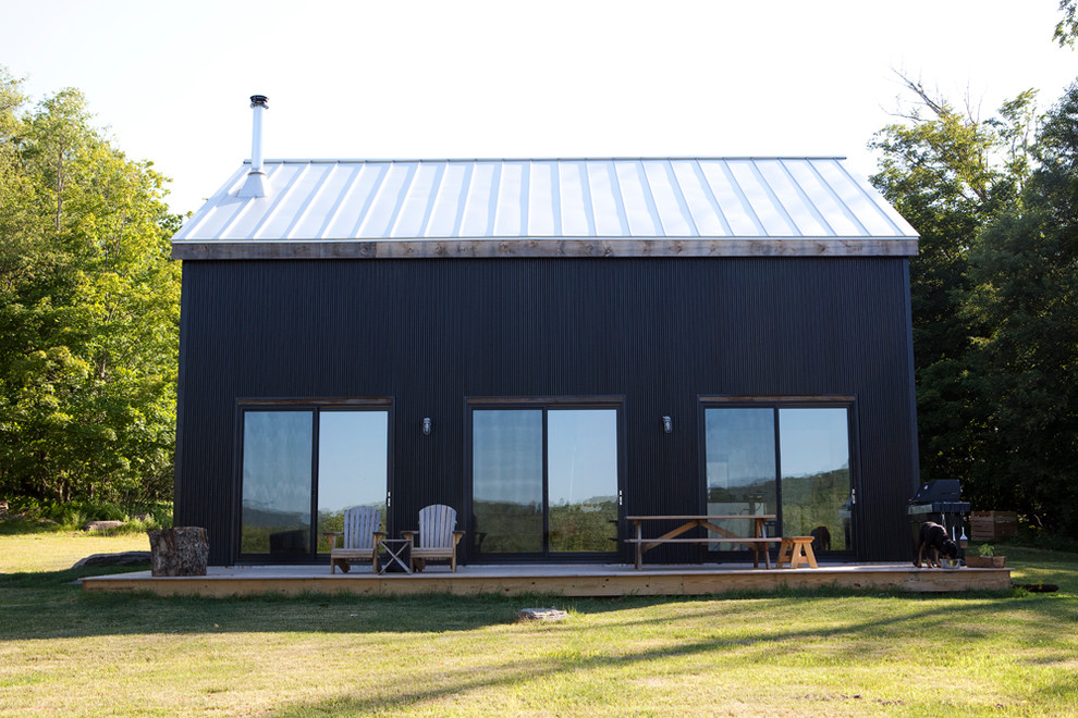 corrugated metal siding Exterior Rustic with Adirondack chairs corrugated metal siding deck glass