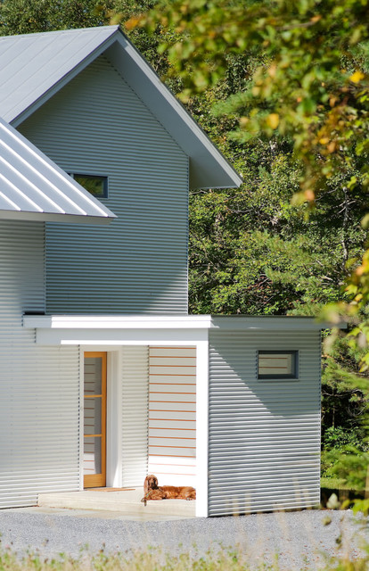 Corrugated Plastic Roofing Entry Farmhouse with Concrete Corrugated Metal Dog Entry Front Door Gravel Metal