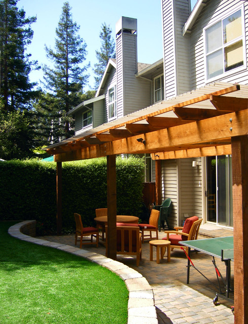 corrugated plastic roofing Patio Contemporary with artificial turf backyard covered patio grass lawn outdoor cushion