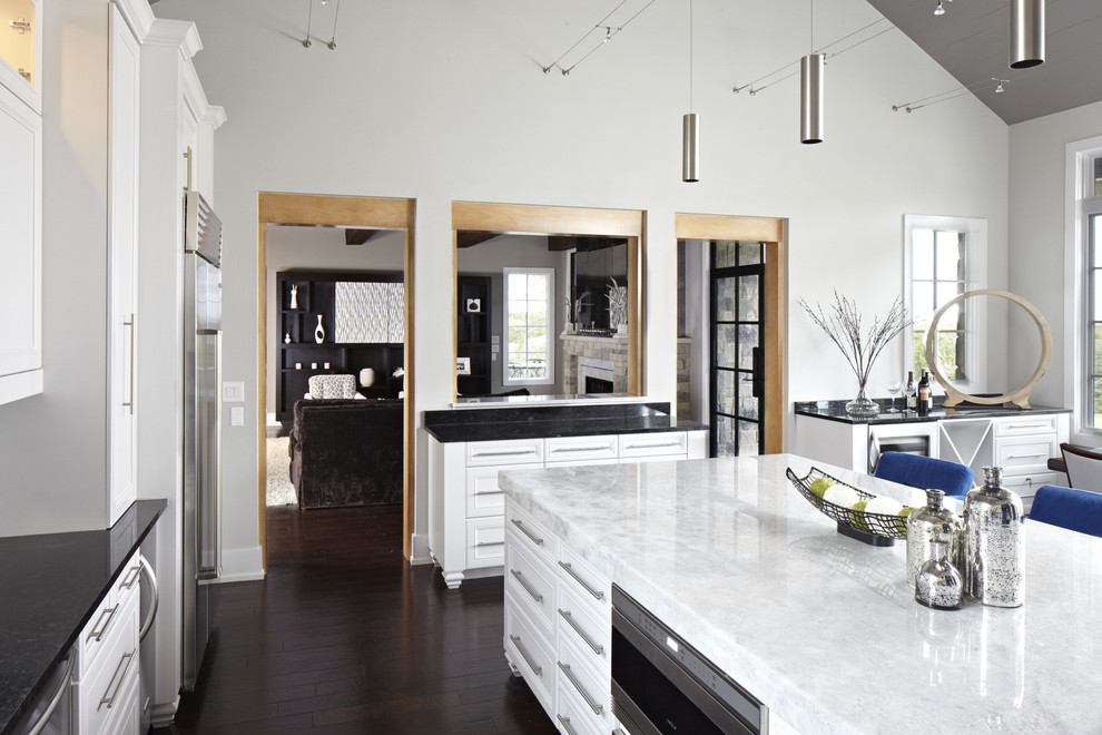 cost of quartz countertops Kitchen Contemporary with black granite dark stained wood floor stainless