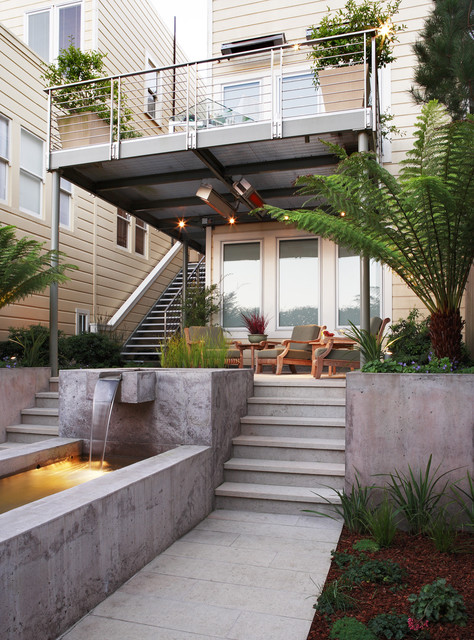 Cost of Tankless Water Heater Landscape Contemporary with Back Yard Balcony Cantilever Chairs Concrete Covered Patio Fern