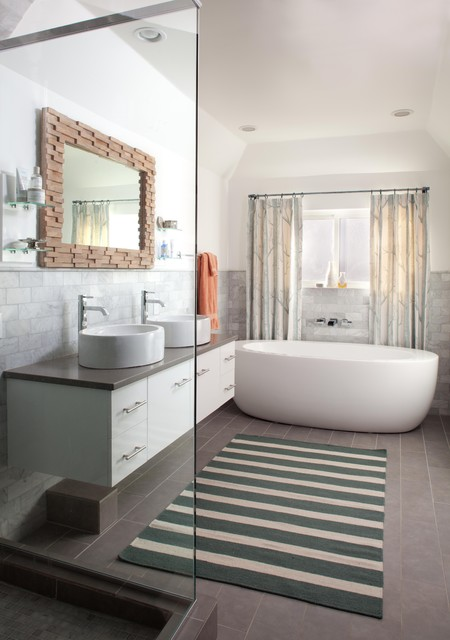 Costco Vanities Bathroom Contemporary With Birch Tree Fabric Curtains  Double Vanity Flat Weave Floating