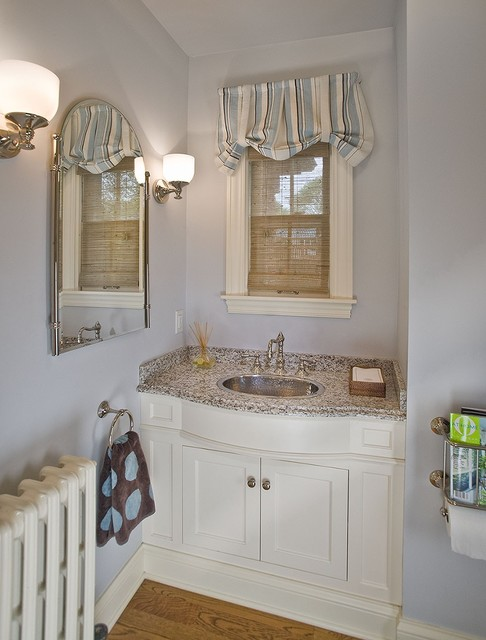 Costco Window Treatments Powder Room Traditional with Arched Mirror Blue and White Window Treatment Built in Vanity