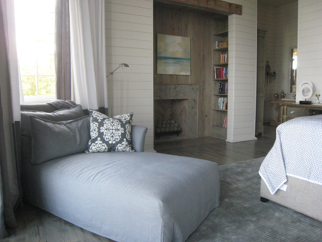 Couch with Chaise Lounge Bedroom Contemporary with Area Rug Bookshelves Built Ins Chaise Lounge Curtains Damask