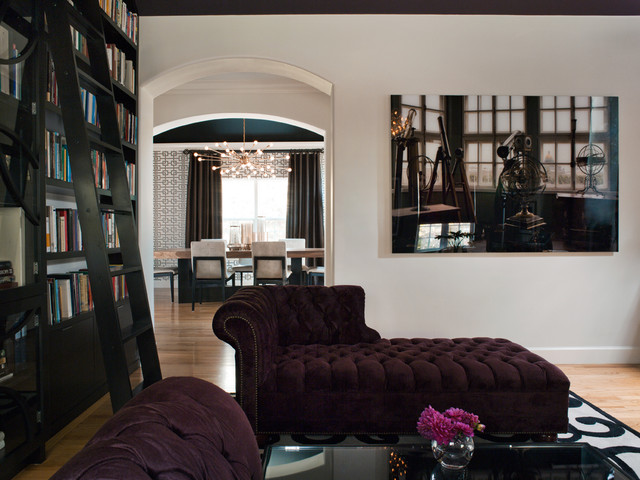 Couch with Chaise Lounge Living Room Contemporary with Arched Doorway Area Rug Artwork Bookshelves Chaise Chandelier Dining