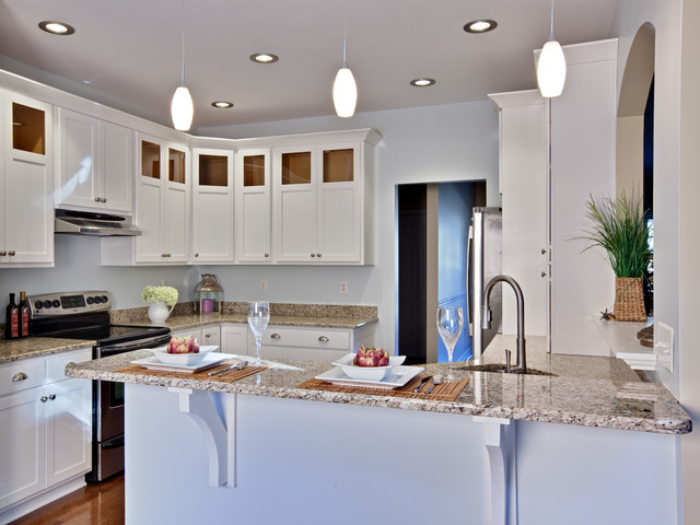 Countertop Support Brackets Kitchen Contemporary with Breakfast Bar Ceiling Lighting Eat in Kitchen Granite Countertops