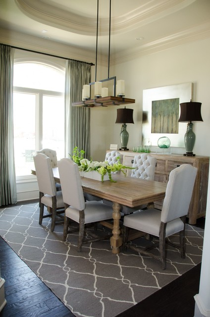 Cow Hide Rug Dining Room Transitional with Curtains Custom Drapes Drapery Drapes Extra Long Drapes Green