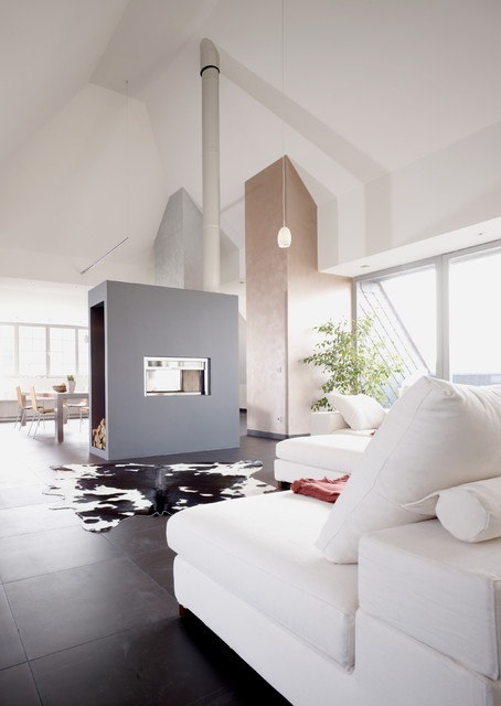 Cow Hide Rug Family Room Contemporary with Black Floor Tile Cow Hide Rug Dachwohnung Double Sided