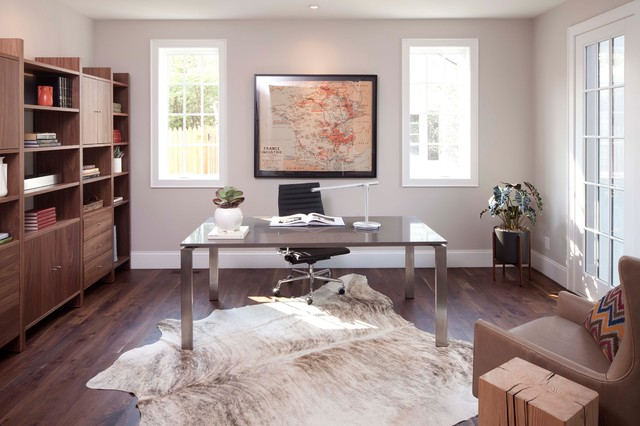 Cow Hide Rug Home Office Contemporary with Armchair Art Bookcase Desk Metal Desk Mid Century Modern