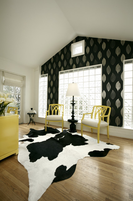 cow hide rugs Home Office Contemporary with accent wall bold accents bold colors Clerestory cowhide rug
