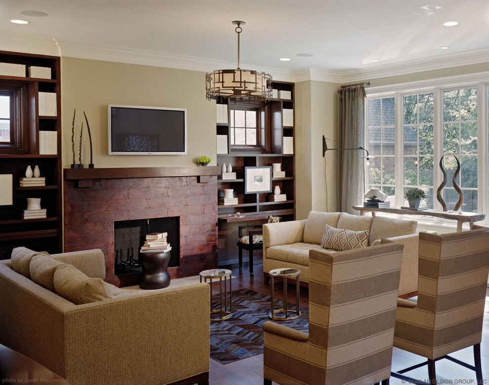 Cowhide Furniture Family Room Traditional with Animal Skin Beige Wall Bookcase Bookshelves Built