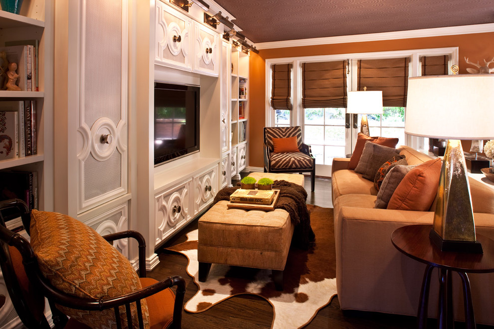 Cowhide Furniture Family Room Transitional with Bookcase Bookshelves Built in Shelves Cowhide Rug