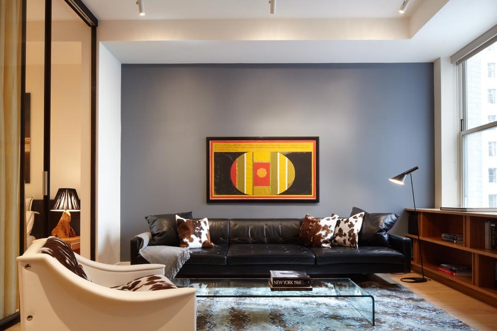Cowhide Pillows Living Room Contemporary with Accent Wall Arne Jacobsen Lamp Axis Mundi1