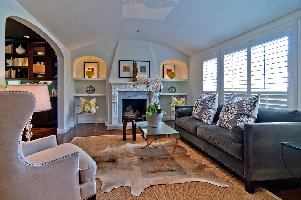 Cowhide Pillows Living Room Traditional with Armchair Art Niche Ghost Chair Grey Velvet