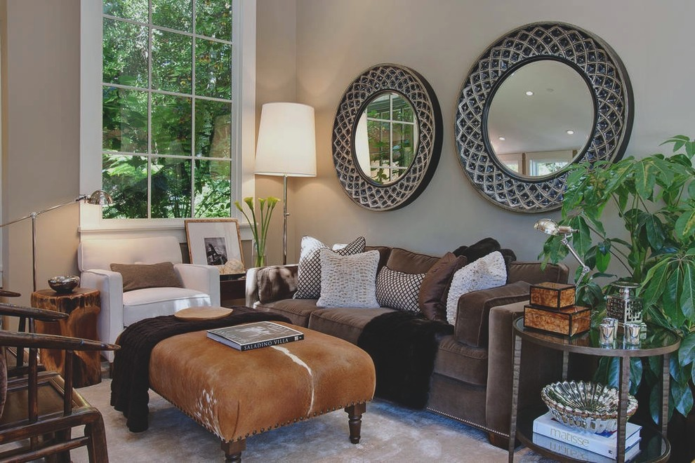 Cowhide Pillows Living Room Transitional with Cowhide Ottoman Decorative Pillows Earth Tone Colors