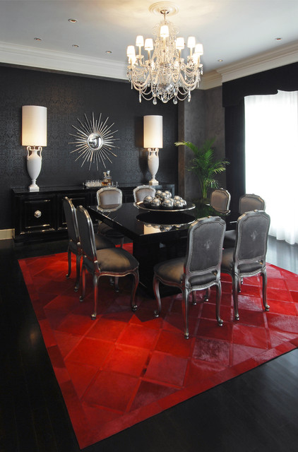 Cowhide Rugs Dining Room Contemporary with Area Rug Bold Colors Ceiling Lighting Centerpiece Chandelier Chandelier