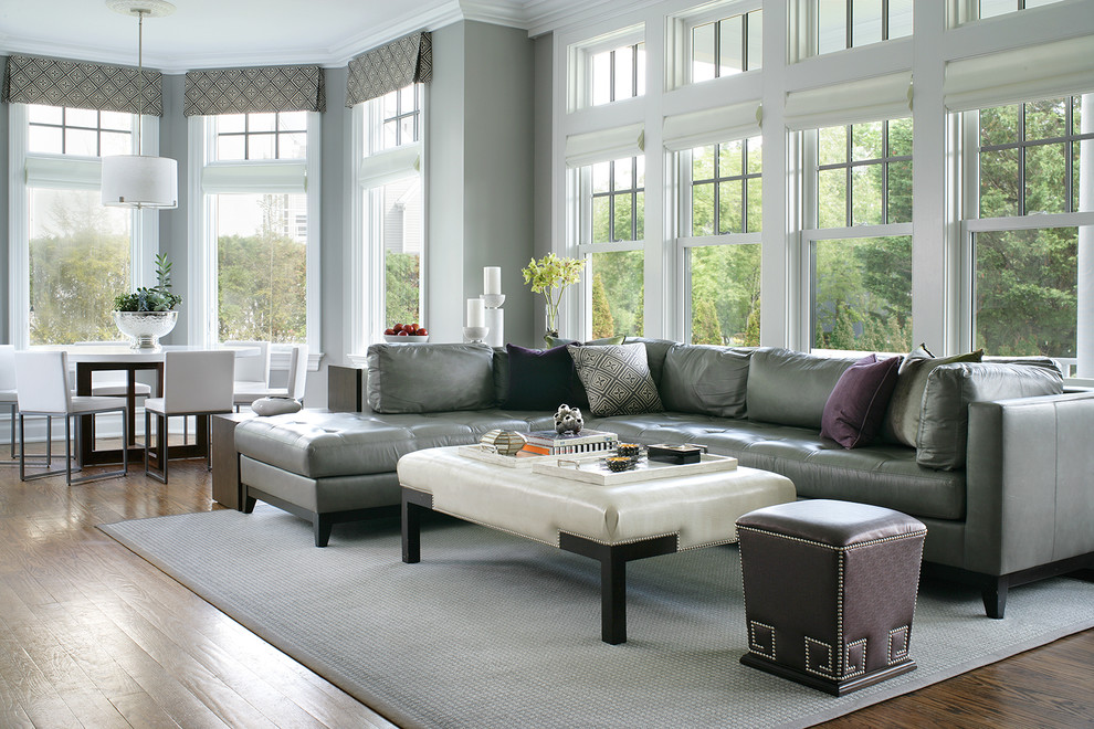 Cream Leather Sectional Family Room Transitional with Bookcase Contemporary Fabric Cornice Gray Leather Sectional